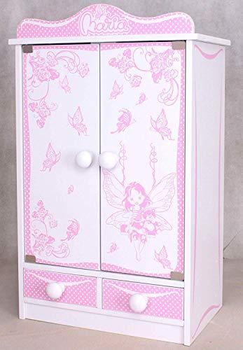 habeig Kinderschrank #822 Kleiderschrank 52 cm hoch Puppenschrank Wandschrank Hängeschrank weiß 2 Türen