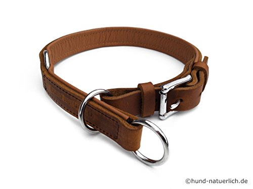 Zugstopp Lederhalsband für Hunde hellbraun cognac gefüttert Chrom, Leder Hundehalsband (45 (Halsumfang 38cm - 41cm))