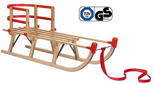 Impag Klassischer Davos-Schlitten Rodel   100 - 125 cm lang   stabiles Buchenholz   belastbar bis 110 kg   mit Zuggurt und Sicherheits-Rückenlehne   TÜV geprüft