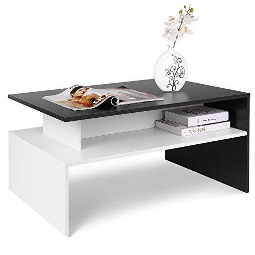 Homfa Couchtisch Wohnzimmertisch Beistelltisch Holztisch Kaffeetisch Holz 90x54x43cm (Schwarz+Weiß)