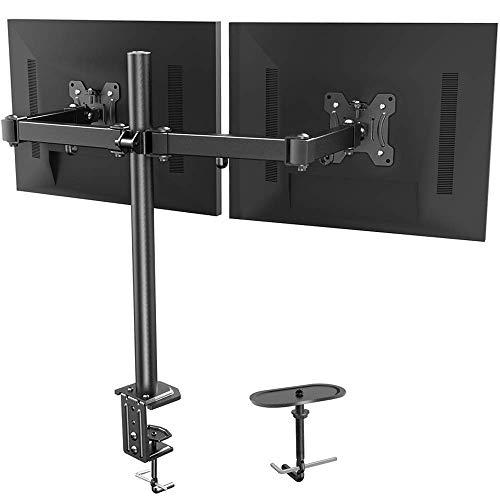 HUANUO Monitor Halterung 2 Monitore, Volleinstellbar für 13 bis 27 Zoll LCD LED Bildschirme, 2 Montageoptionen, VESA 75/100