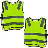2 Warnweste Kinder Sicherheitsweste Gelb Stark Sichtbar | Atmungsaktiv | Universal Größe | Schutz Weste für Jungs/Mädchen