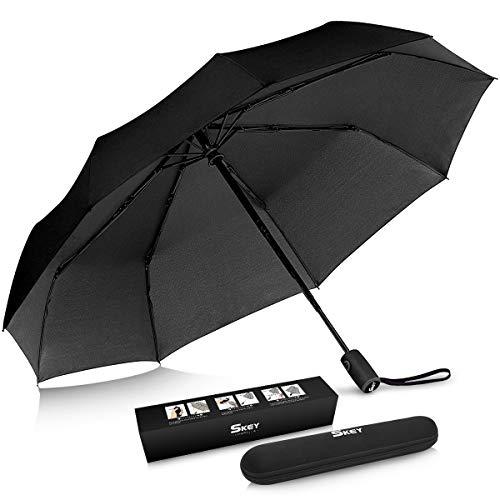 Regenschirm Taschenschirm SKEY umgekehrter Regenschirm Umbrella- inkl. Schirm-Tasche & Reise-Etui - Auf-Zu-Automatik, Teflon-Beschichtung, windsicher, stabil (Schwarz)