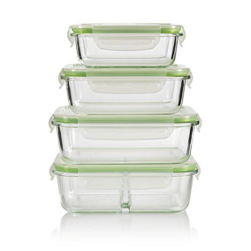 GOURMETmaxx Glas-Frischhaltedosen 4er Set Glasbehälter mit Luftdichten Frischeverschluss (1040, 980, 630, 370ml), Vorratsdosen Mikrowellen, Tiefkühl und Spühlmaschinen Geeignet Multifunktions Schale (Bpa Frei), Transparent, 4 Dosen And 4 Deckel-Trennwand