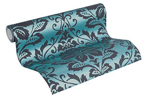Barock Tapete Vliestapete Ornamente neo barock rokoko petrol blau schwarz 10,05m x 0,53m BEAUTIFUL WALLS 369105