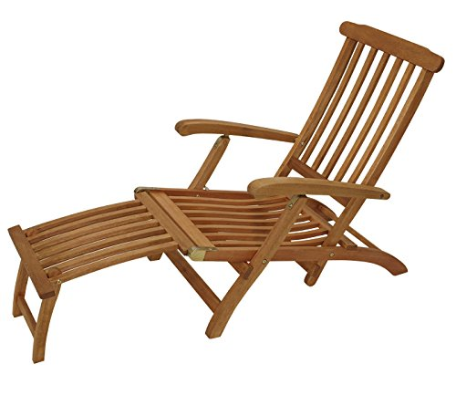 Deckchair Maine mit Fussteil aus Eukalyptus Hartholz, FSC-zertifiziert
