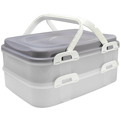 COM-FOUR Partycontainer Transport-Box, Kuchenbehälter und Lebensmittelbox mit 2 Etagen und Hebeeinsatz, in grau pastell