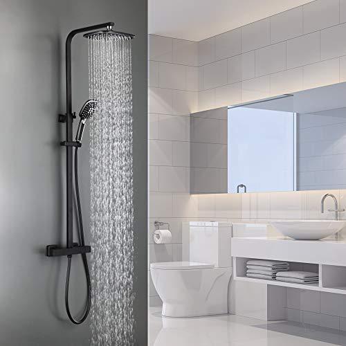 Auralum 2 Funktionen Duschsystem mit Thermostat, Schwarz Duschset Regendusche inkl. Kopfbrause, Handbrause, verstellbarer Duschstange, Dusche Duschpaneel Duschgarnitur Duschsäule Duscharmatur
