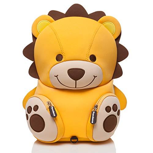 Pandana Kinderrucksack Lenny Löwe mit Brustgurt für Jungen und Mädchen im Kindergarten oder Kita für 2 bis 5-Jährige, aus isolierendem Neopren mit Anti-Lost-System