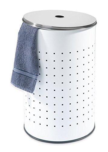 Wäschetonne Wäschesammler Wäschekorb BARREL | Edelstahl weiß | ca. 37 Liter | 54 cm hoch