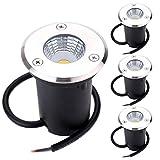 B-right 4er LED Bodeneinbaustrahler, 3W Bodeneinbauleuchte für Außen, Bodenlampe Außen, rostfrei, befahrbar, bis zu 800 kg belastbar, Einbau Durchmesser 5,8 cm, Edelstahl rund warmweiß