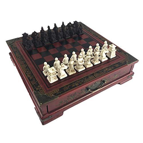 LOFAMI Traditionelle Spiele Schach Kreatives Holz tun altes schnitzendes Schach-chinesisches Retro Terrakotta-Krieger-Form-Schach-Harz-Schachfigur-Weihnachtsgeburtstags-Prämien-Geschenk Schach