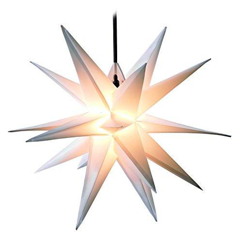 3D WEIHNACHTSSTERN Ø 50 cm 18 Zacken LEUCHTSTERN Außenstern Faltstern Adventsstern wetterfest für außen und innen 4m Kabel wetterfest von Dekowelt (Weiß)