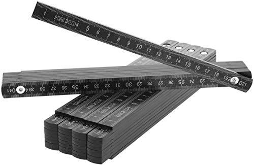 com-four 5X Zollstock aus Kunststoff, 2 Meter Gliedermaßstab mit 10 Glieder, metrisch in schwarz (05 Stück - Zollstock/schwarz)