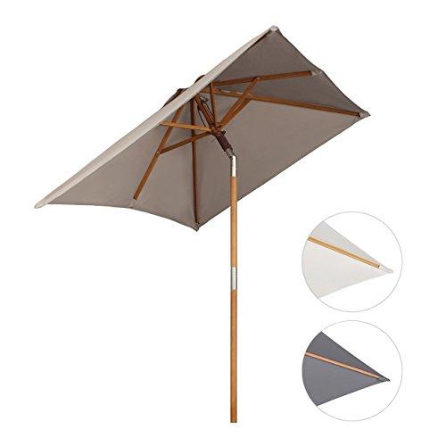 Sekey 200 × 150 cm Holz-Sonnenschirm Marktschirm Gartenschirm Terrassenschirm Sonnenschutz UV50+ Taupe Quadratisch