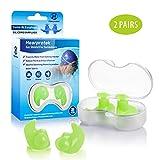 Hearprotek Ohrstöpsel Schwimmen Erwachsene, 2 Paar Wasserdichte Wiederverwendbare Silikon Ohrstöpsel für Schwimmer beim Duschen beim Surfen und Anderen Wassersportarten (Grün)
