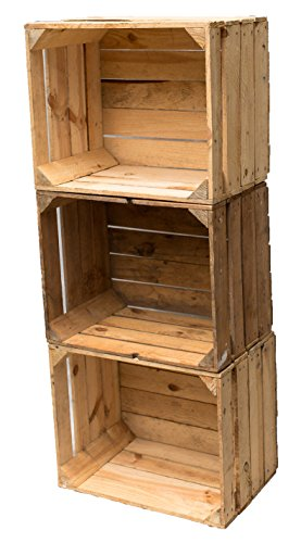 3er Set Vintage Holzkiste OBSTKISTE Weinkiste Used Look stabil und gereinigt