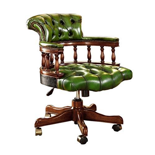 CHQYY Chef-Stuhl, Bürostuhl, Leder-Computer-Stuhl, Hauptstuhl, Massivholz-Drehstuhl, High-End-Ledermöbel zurück (Color : Green)