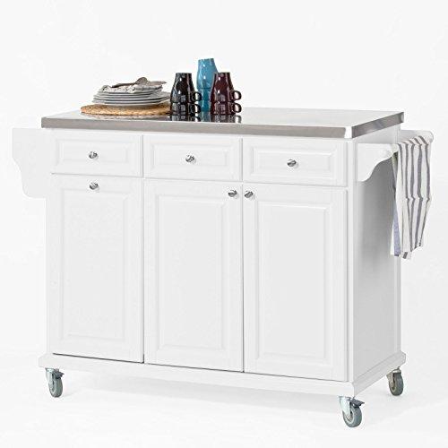 SoBuy FKW33-W Küchenwagen mit Edelstahlplatte, Küchenschrank, Kücheninsel,Servierwagen, Rollwagen, mit Ablage für Mülleimer, Abfalleimer