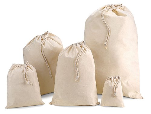 Baumwollbeutel mit Kordelzug, versch. Größen
