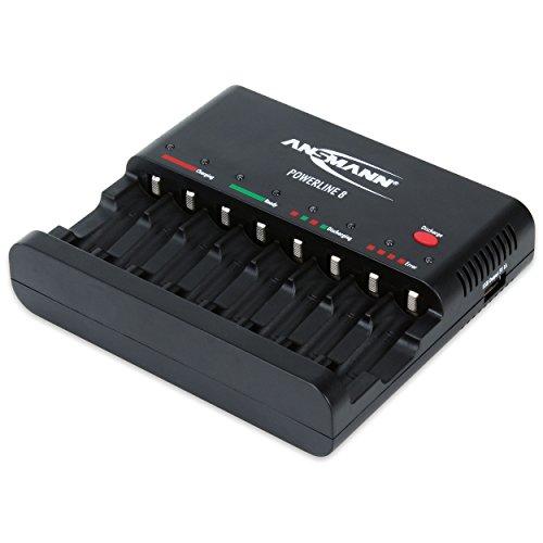 ANSMANN Powerline 8 Akku-Ladegerät / 8-fach Ladegerät zum Laden & Entladen / Ideal für Akkus der Größen AA & AAA / Mit USB-Port für Kamera, Smartphone & co.