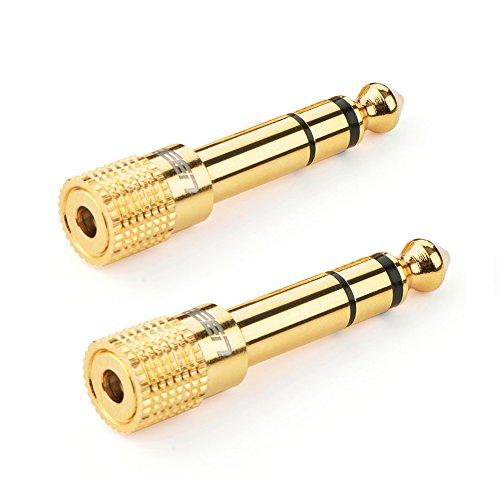UGREEN 6.35mm Klinkenstecker auf 3.5mm Klinken Buchse aux Audio Adapter mit Vergoldete Kontakte für Kopfhörer oder Lautsprecher Zwei Stücks Vergoldete Kontakte