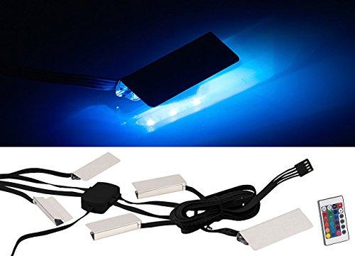 Lunartec Glaskantenbeleuchtung: LED-Glasbodenbeleuchtung mit Fernbedienung, 4 Klammern mit 12 RGB-LEDs (LED Glaskantenbeleuchtung)