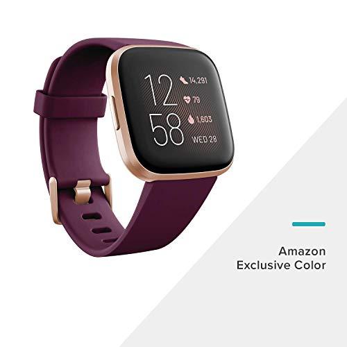 Versa 2, Gesundheits- & Fitness-Smartwatch mit Sprachsteuerung, Schlafindex & Musikfunktion