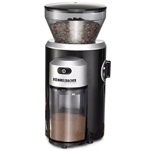 ROMMELSBACHER EKM 300 elektrische Kaffeemühle mit Kegelmahlwerk / Kaffeepulver täglich frisch / 12 Stufen-Mahlgrad / Mengendosierung / 150 W / schwarz,silber