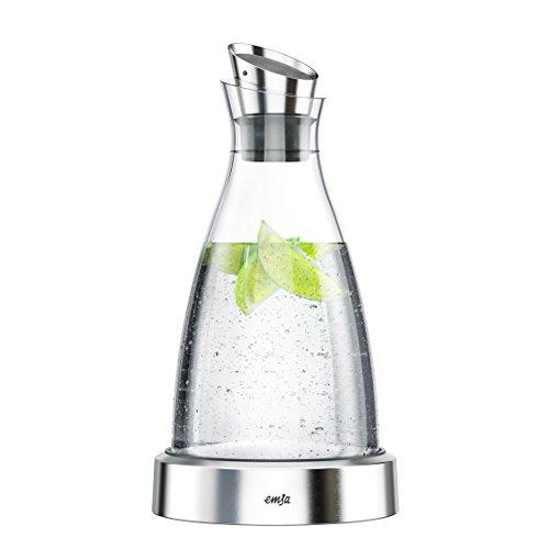 Emsa 516942 Kühlkaraffe, Flow Karaffe Glas, 1,00 Liter, 4 Std. kühl, spülmaschinenfest, integriertes Kühlelement, edelstahl