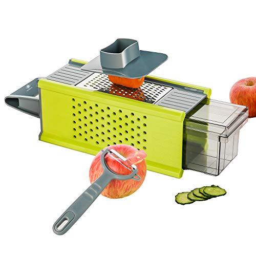 Kalokelvin Küchenreibe, Vierkantreibe Mandoline Gemüseschneider Manuelle Gemüsehobel Käsereibe Reibe mit 4 Edelstahlklingen für Käse Gurken Kartoffel Möhren