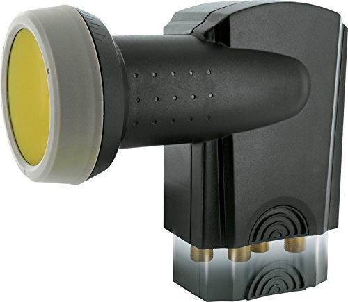 SCHWAIGER -371- Quad LNB mit Sun Protect, 4-fach, digital ,4 Teilnehmer, extrem hitzebeständige LNB Kappe, Einsatz mit Satellitenschüssel, multifeed-tauglich mit Wetterschutz und vergoldeten Kontakten