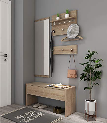 Style home 4tlg. Garderobenset Holz Garderobe 1 Bank + 1 Spiegelpanel + 2 Garderobenpanel, Flur/Dielengarderobe Komplett Set Flur/Dielenmöbel SH78M11053-HOL
