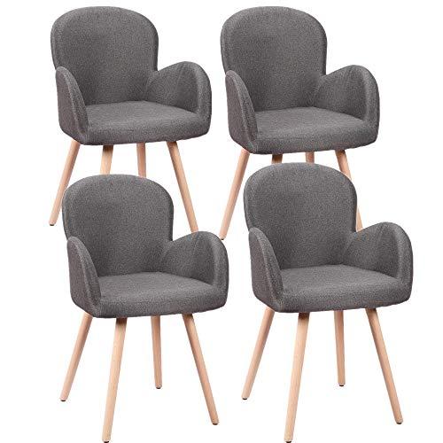 HENGMEI 4 x Konferenzstuhl Esszimmerstuhl Wohnzimmerstuhl Designerstühle Sitzgruppe Bürostuhl Küchenstuhl, Buchenholz mit Massivholz Bein (Dunkelgrau, 4er)