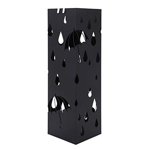 SONGMICS Regenschirmständer Schirmständer mit Wasserauffangschale Haken für Regenschirm