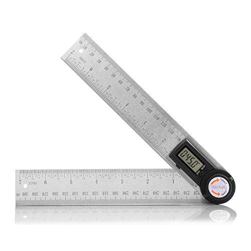 Winkelmesser, Tacklife MDA01 Winkelmesser mit Lineal aus Edelstahl, Digital-Anzeige, Längenmessung 400mm/ 14 Zoll, Messbereich: 000.0°~999.9°, relative und absolute Winkelmessung, HOLD-Funktion