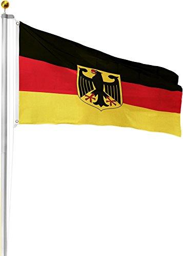 Aluminium Fahnenmast 6,20 6,80 oder 7,50 m Höhe inkl. Deutschlandfahne mit Adler 90x150 Größe 6.8 Meter