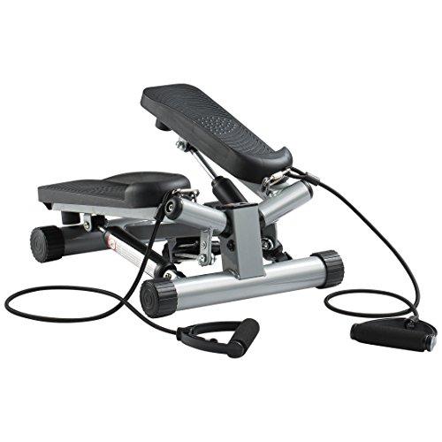 Ultrasport Swing Stepper mit Trainingsbändern, Hometrainer mit verstellbarem Widerstand und kabellosem Trainingscomputer, Up-Down-Stepper klein kompakt