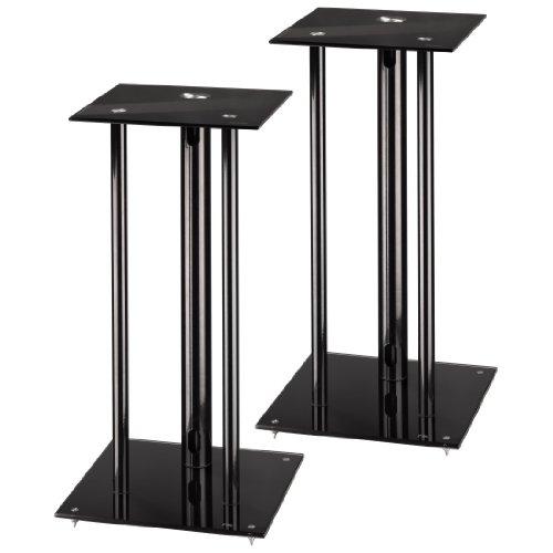 Hama Lautsprecherständer (Höhe 64 cm, je 30 kg belastbar, mit Spikes und Kabelkanal) 2er-Set, schwarz