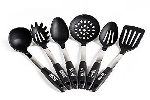 Paulis Kitchen 6 teiliges Küchenhelfer Set aus schwarzen Silikon mit Edelstahl - Pfannenwender Suppenkelle