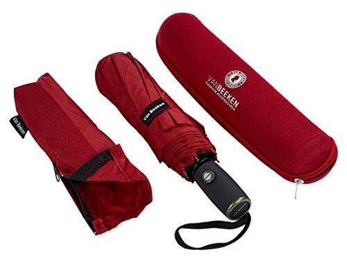 Regenschirm Taschenschirm – VAN BEEKEN – windtest bei 140 km/h – inkl. Schirm-Tasche & Reise-Etui – mit Teflon-Beschichtung u. Auf-Zu-Automatik – kompakt, leicht, klein, stabil u. windsicher, Rot