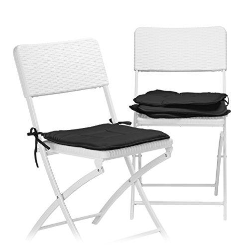 Relaxdays Stuhlkissen 4er Set, Sitzkissen mit Schleife, Auflage für Stühle in Haus und Garten, waschbar, Stuhlauflage aus Polyester, schwarz