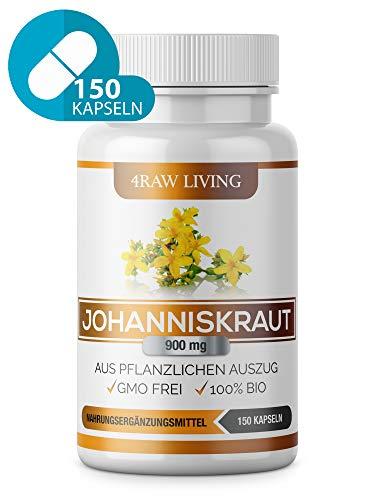 Johanniskraut-Extrakt - 150 Kapseln - Bio Hochdosiert 900 mg +0,3% Hypericin und Hyperforin, St Johns Wort St John's Wort Hypericum Perforatum L.