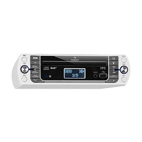 auna KR-400 CD Küchenradio • Unterbau-Radio • DAB+/PLL FM Radio • CD/MP3-Player • Bluetooth • AUX • USB • 40 speicherbare Sender • LCD-Display • Koch- und Alarmfunktion • inkl. Fernbedienung • weiß