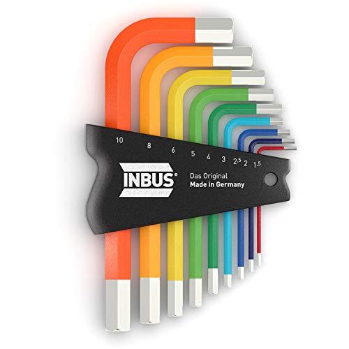 INBUS 70259 Inbusschlüssel Satz Farbcodiert Kurz Metrisch 9tlg. 1,5-10mm | Made in Germany | Innensechskant-Schlüssel | Winkel-Schlüssel | 1,5mm | 2mm | 2,5mm | 3mm | 4mm | 5mm | 6mm | 8mm | 10mm | bunt | farbig | Design | Kurze Ausführung