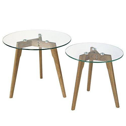 Homestyle4u 1822 Glastisch Couchtisch Beistelltisch Wohnzimmertisch 2er Set rund Tisch groß Ø 50 cm & klein Ø 40 cm