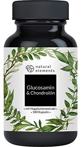Glucosamin & Chondroitin - 180 Kapseln - Komplex mit Vitamin C aus Hagebutten - Hochdosiert und hergestellt in Deutschland