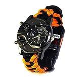 QHY Watch, Outdoor-Multifunktions-Survival-Uhr, Regenschirm Seil Weben Bergsteigen Armband Uhr Taschenlampe Camping,Orange schwarz,A