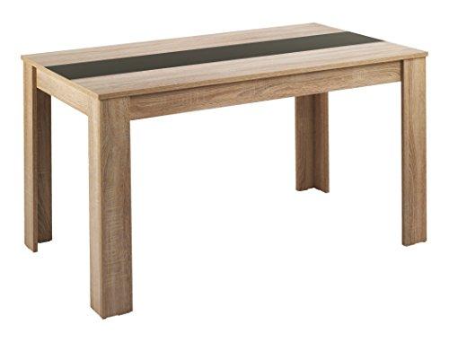 CAVADORE Esstisch NICO / Moderner, praktischer Küchentisch 120 x 80 cm in Melamin Sonoma Eiche mit Mittelplatte in weiß oder schwarz / Esszimmertisch in Hellbraun / 120 x 80 x 75 cm (L x B x H)