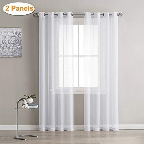 Weiß Transparent Vorhange, Lalafancy Garn Voile Gardinen mit Ösen, Fenstervorhänge Ösenvorhang Window Curtains für Wohnzimmer Schlafzimmer, 2 Stücke 245 x 140 cm (H x B)
